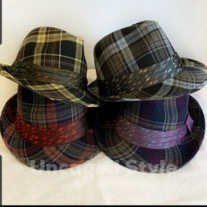 Unisex Hats with silk like bands multi colors
